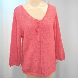 Christopher & Banks Salmon Pink Sweater Size Med
